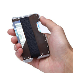 Genuine Leather & Aluminum Minimalist RFID Wallet