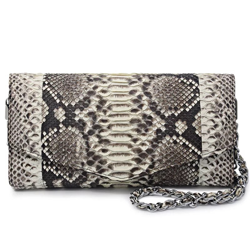 Handmade Genuine Python Clutch Envelope Purse / Shoulder Bag
