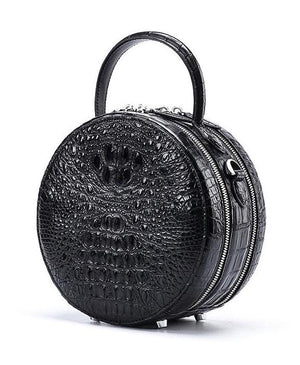 Handmade Genuine Crocodile Deluxe Double Zipper Circular Purse