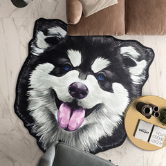 Irregular Realistic Dog Round Area Rug