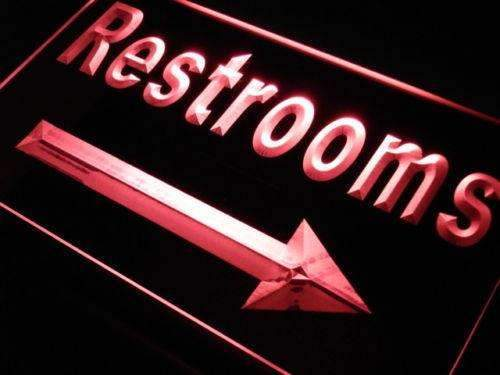 Right Arrow Restrooms LED Neon Light Sign - Way Up Gifts