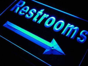 Right Arrow Restrooms Neon Sign (LED)-Way Up Gifts