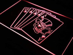 Royal Flush Poker Skull LED Neon Light Sign
