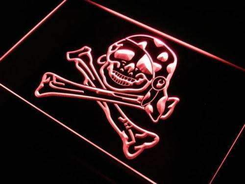 Skull Crossbones Pirate Girl LED Neon Light Sign - Way Up Gifts