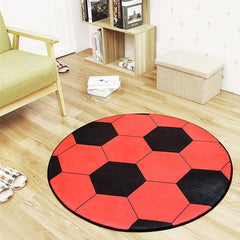 Sports Series Red Soccer Ball Round Area Rug