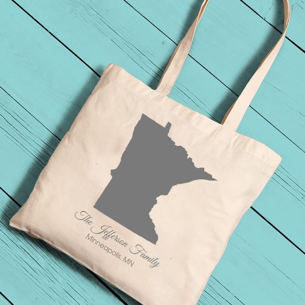 Personalized State Canvas Tote - Way Up Gifts
