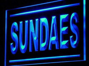 Sundaes Ice Cream Shop Neon Sign (LED)-Way Up Gifts