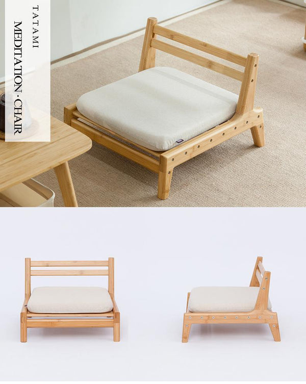 Handcrafted Bamboo Meditation Chair w/ Cushion - Way Up Gifts
