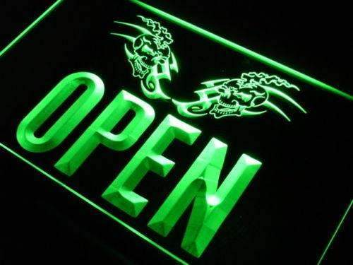 Tattoo Skulls Open LED Neon Light Sign - Way Up Gifts