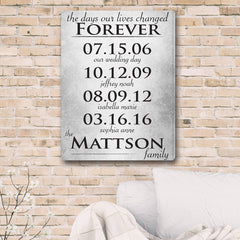 Personalized The Days Our Lives Changed Canvas Print