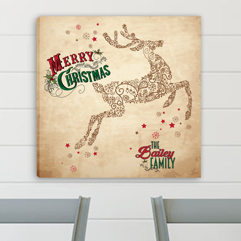Personalized Vintage Reindeer Canvas - Way Up Gifts