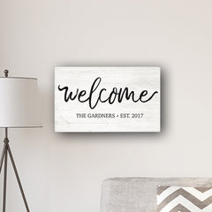 "Personalized Welcome Modern Farmhouse 14 x 24"" Canvas Sign"