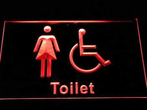Womens with Handicap Restroom LED Neon Light Sign - Way Up Gifts