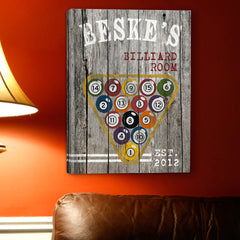 Personalized Billiards Canvas Sign