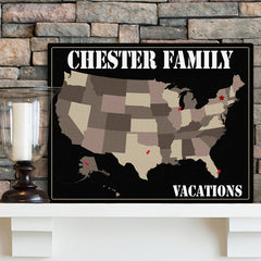Personalized Family Travel Map Canvas Signs