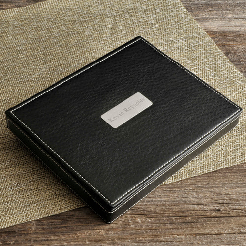 Engraved Men's Small Leather Jewelry Box - Way Up Gifts