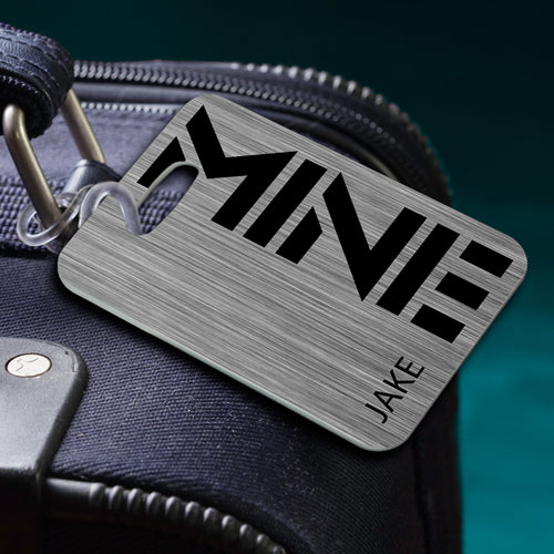 Personalized Name Luggage Tag MINE Silver Personalized Gifts - Way Up Gifts