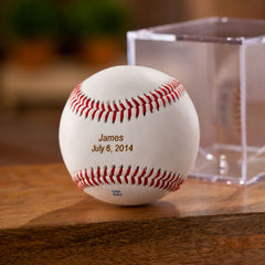 Personalized Classic Rawlings Leather Baseball and Acrylic Case