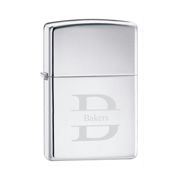 Engraved High Polish Chrome Zippo Lighter Stamped Personalized Gifts - Way Up Gifts