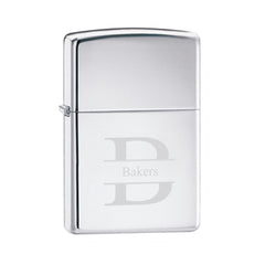 Engraved High Polish Chrome Zippo Lighter