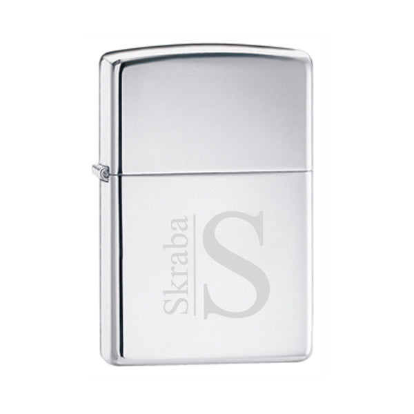 Engraved High Polish Chrome Zippo Lighter Modern Personalized Gifts - Way Up Gifts