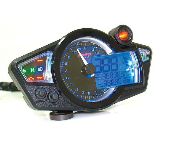 multifunctional speedometer Koso RX1N GP Style black, blue lighting