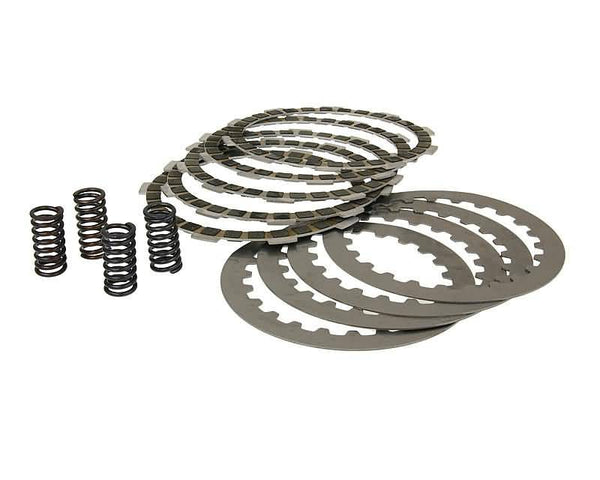 clutch plate / disc set, cork and steel plates incl. springs for Minarelli AM, Generic, KSR-Moto, Keeway, Motobi, Ride, 1E40MA, 1E40MB