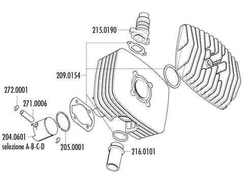piston kit Polini series 6000 80cc 48mm (A) for Zündapp Corsa 50