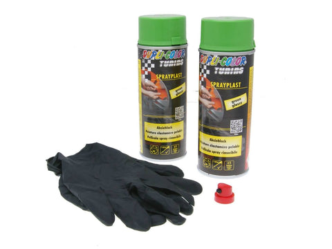 strippable lacquer Dupli-Color Sprayplast set green glossy 2x400ml