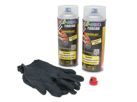 strippable lacquer Dupli-Color Sprayplast set transparent glossy 2x400ml
