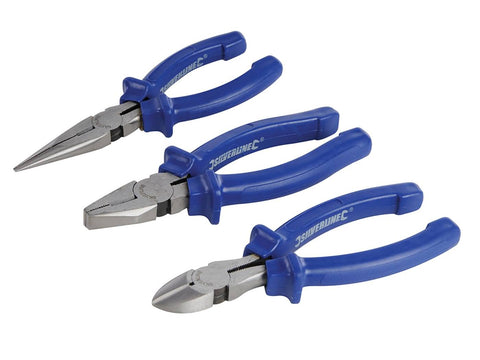pliers set Silverline 160mm 3-piece long nose, combination & side-cutting pliers
