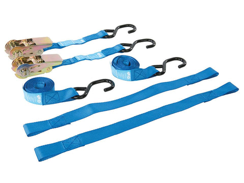 motorbike tie-down set Silverline 4-piece with s-hook ratchet tie-down straps 25mm & securing loops