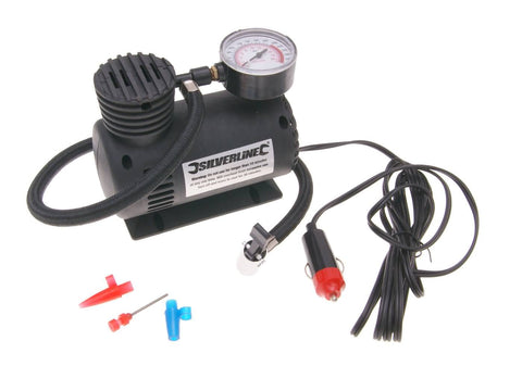 mini air compressor Silverline 12V/DC lighter plug