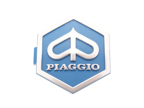 emblem / badge Piaggio 3D hexagonal 32x37mm to plug, blue / silver