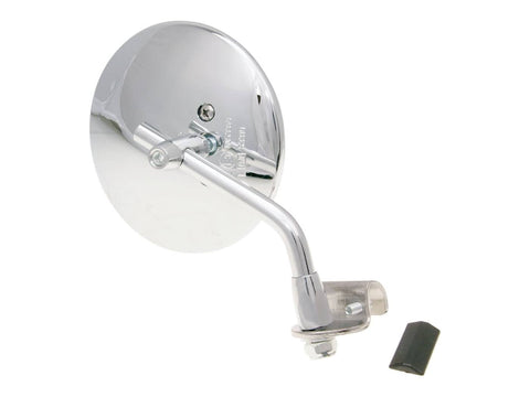 clamp-on mirror round shape left / right chromed for Vespa