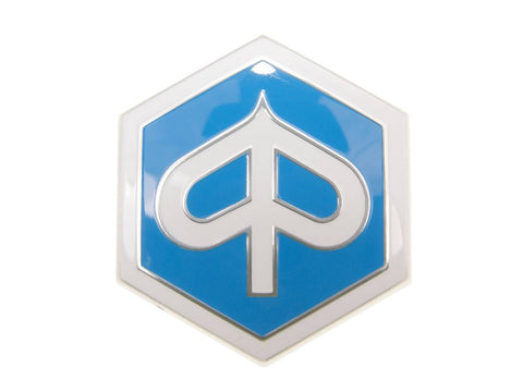 emblem / badge Piaggio hexagonal 42x48mm to plug for Piaggio Beverly, Carnaby, X7, X8, X10