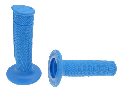 handlebar rubber grip set Domino 1150 off-road half waffle blue