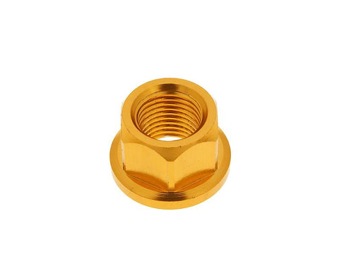 front wheel lock / axle nut aluminum gold anodized M12x1.75