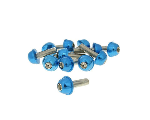 hexagon socket screw set - anodized aluminum screw head blue - 12 pcs - M6x20