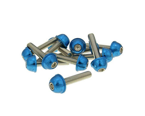 hexagon socket screw set - anodized aluminum screw head blue - 12 pcs - M6x30