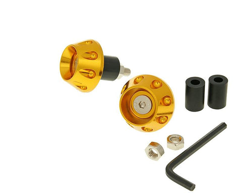 handlebar / bar ends anti-vibration flat 13.5 / 17.5mm (incl. adapter) - gold