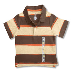 BOY'S BROWN BOLD STRIPE POLO | ON-(6M-5Y)