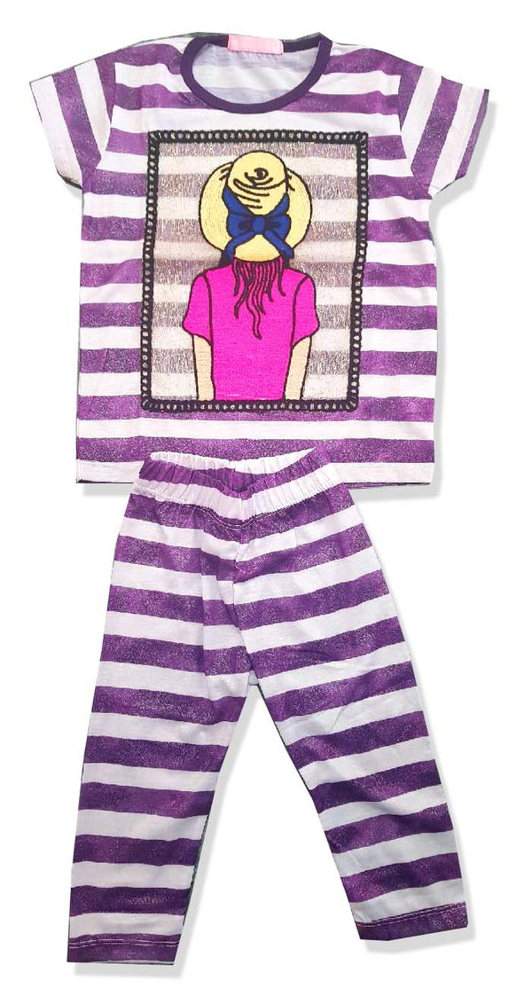 GIRL'S SUMMER HAT EMBROIDERY SET-PURPLE|MARKHOR