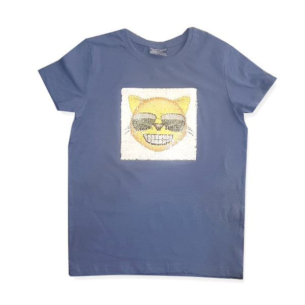 UNISEX SEQUINS HAPPY CAT T-SHIRT | OVS-(10Y & 14Y)