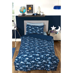 GALAXY SINGLE DUVET SET GLOW IN THE DARK | B&M