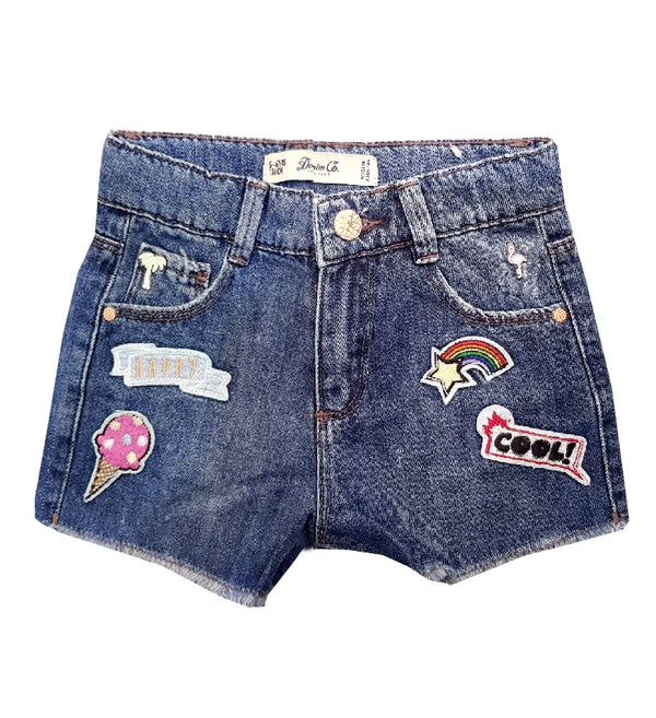 GIRL'S HAPPY ICE-CREAM DENIM SHORT | DENIM CO-(2Y-7Y)