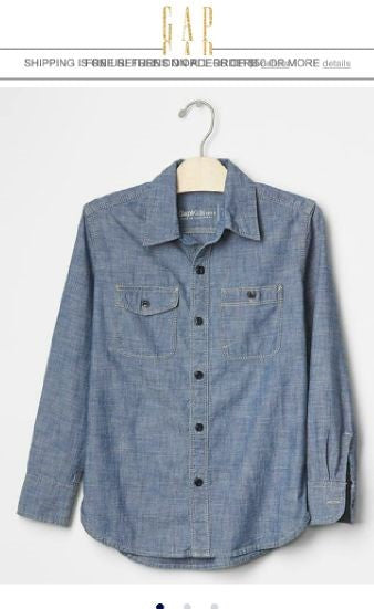 BOYS DENIM SHIRT BY GAP (4-12 YEARS )
