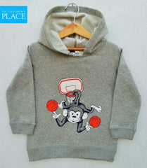 BOYS JUGGLER MONKEY GREY HOOD BY CHILDREN PLACE (6M-4Y)