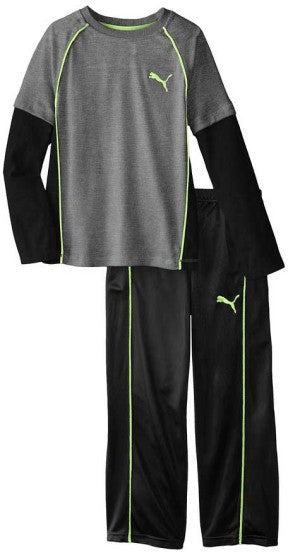 BOYS PUMA 2-PIECE SET GREY/BLACK (12M-5Y)