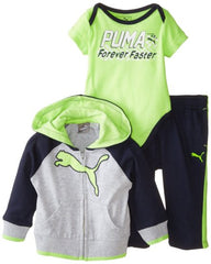 BOYS PUMA 3 PIECES SET (3M-24M) NAVY GREEN